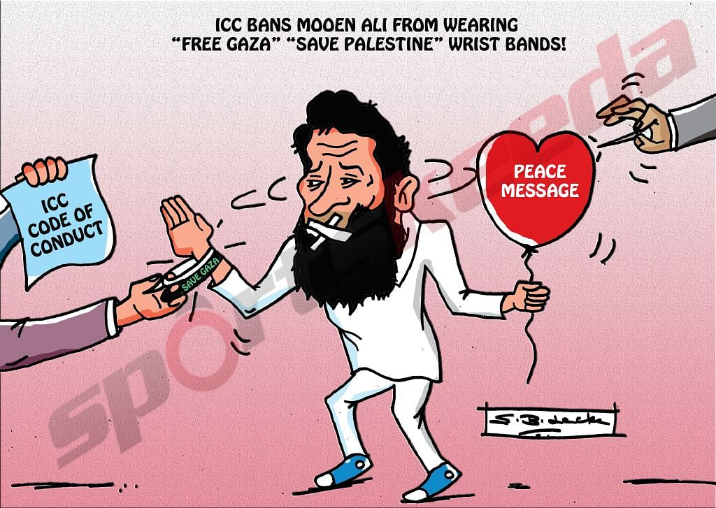 Comic: Moeen Ali's banned wristbands