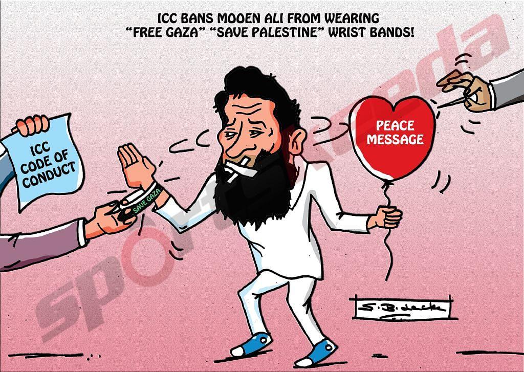 Comic: Moeen Ali's banned wristbands