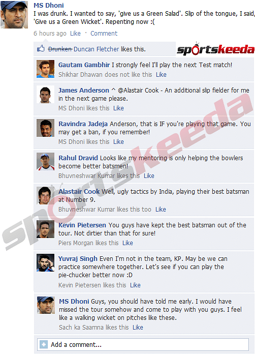 FB Wall: MS Dhoni regrets asking for a green wicket