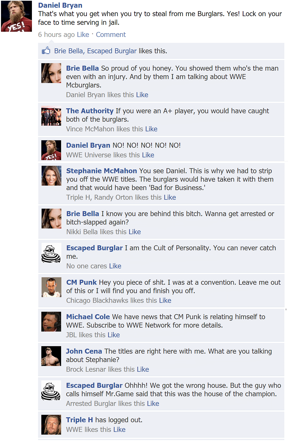 Fake FB Wall: Daniel Bryan reacts after two burglars break into his home