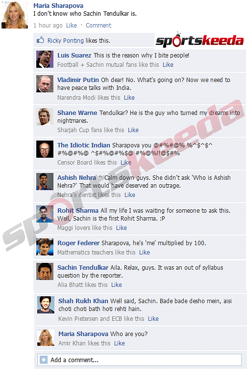 FB Wall: Sharapova creates havoc, Sachin comes to her rescue!