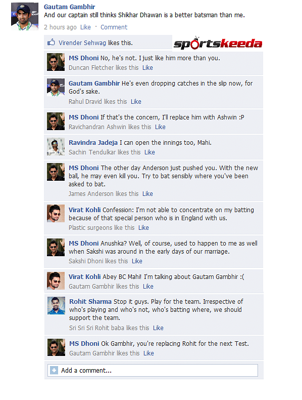 Fake FB Wall: MS Dhoni says Gautam Gambhir will play next Test