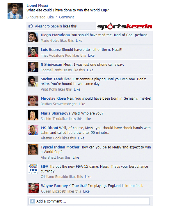 FB Wall: Lionel Messi seeks answers after the 2014 FIFA World Cup Final