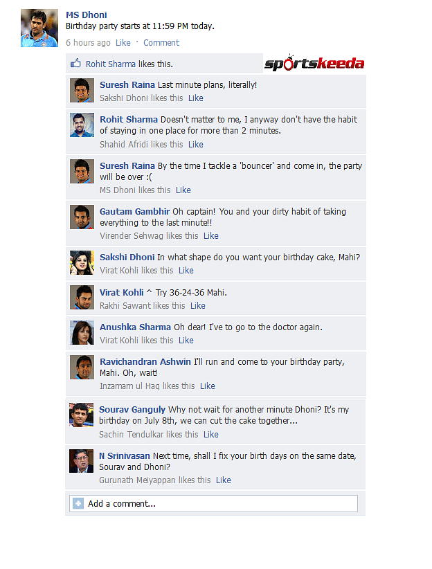 FB Wall: MS Dhoni reveals birthday party plans