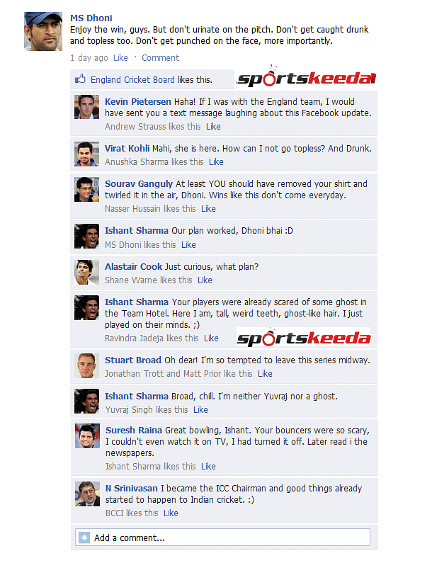 FB Wall: MS Dhoni, Ishant Sharma continue to troll England after Lord's win