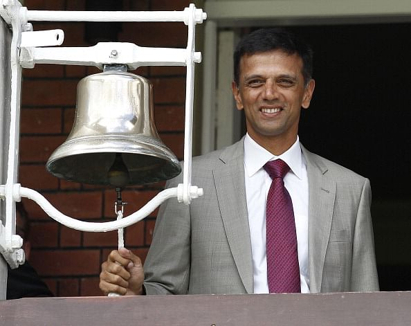 England vs India 2014 - 2nd Test: Rahul Dravid rings the bell at Lord's before start of play on Day 1
