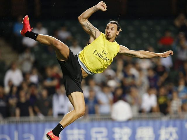 Zlatan Ibrahimovic scores gravity defying back heel goal in PSG training