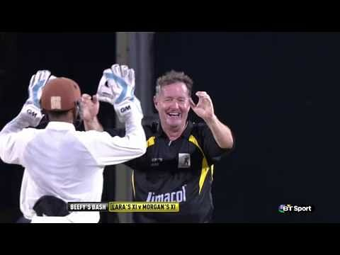 Video: Piers Morgan dismisses Brian Lara, later hits him for 6 and 4 to win charity match