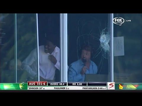 Video: Clive Lloyd hits the ball into the commentary box