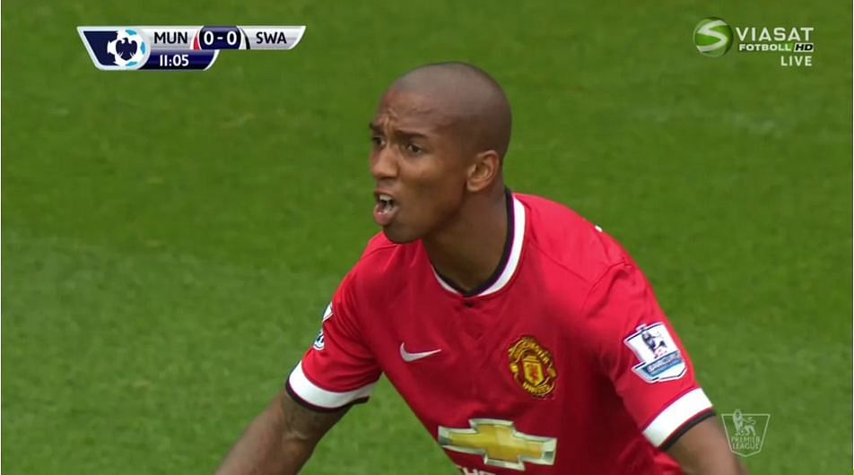 Did a bird poop on Ashley Young's mouth or was it someone else's spit?