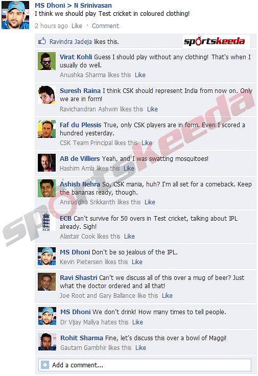 MS Dhoni tells N Srinivasan the secret to his success - FB Wall