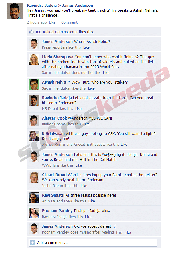 FB Wall: Anderson-Jadeja continue their fight on Facbeook after the ICC hearing