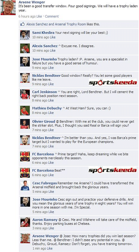 Fake FB Wall: Arsene Wenger predicts trophies in 2014-15