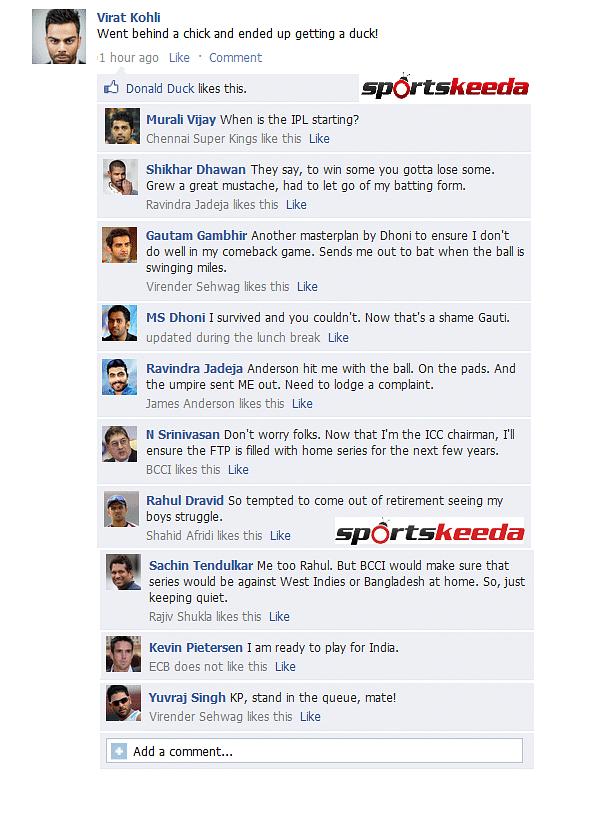 FB Wall: Virat Kohli and company discuss their failures