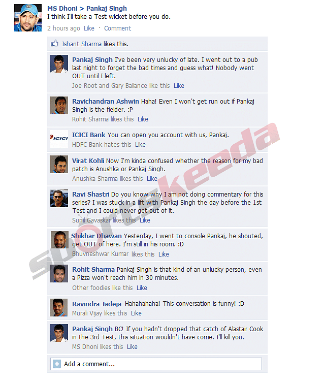FB Wall: MS Dhoni and co. discuss Pankaj Singh's bad luck