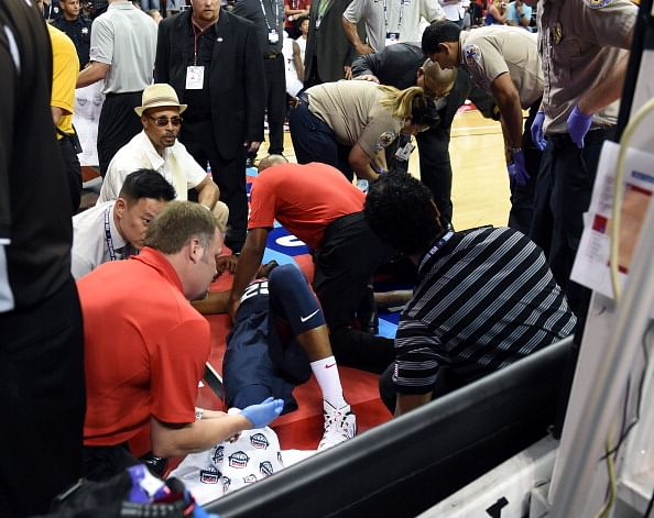 Paul George injures right leg during Team USA scrimmage