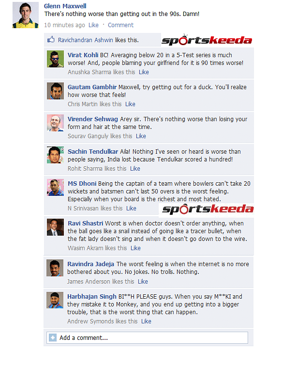 FB Wall: Indian cricketers tell Maxwell what's more worse than getting out in the 90s