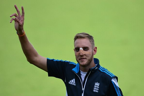 Stuart Broad practises at nets without any discomfort