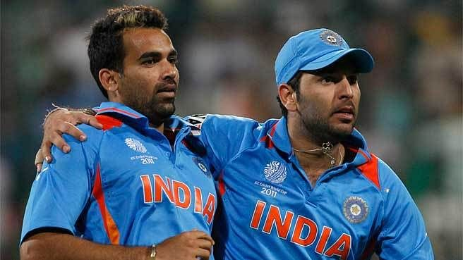 Yuvraj Singh and Zaheer Khan train ahead of the new season