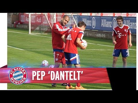Lost touch, Pep? Guardiola tries some keepy-ups with Bayern Munich youngsters