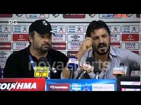 OFI Crete manager Gennaro Gattuso loses his temper and goes ballistic at a press conference