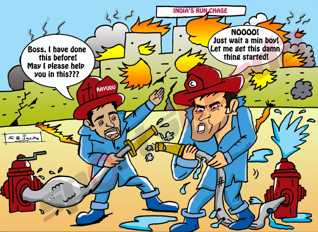 Comic: MS Dhoni and Ambati Rayudu's run chase