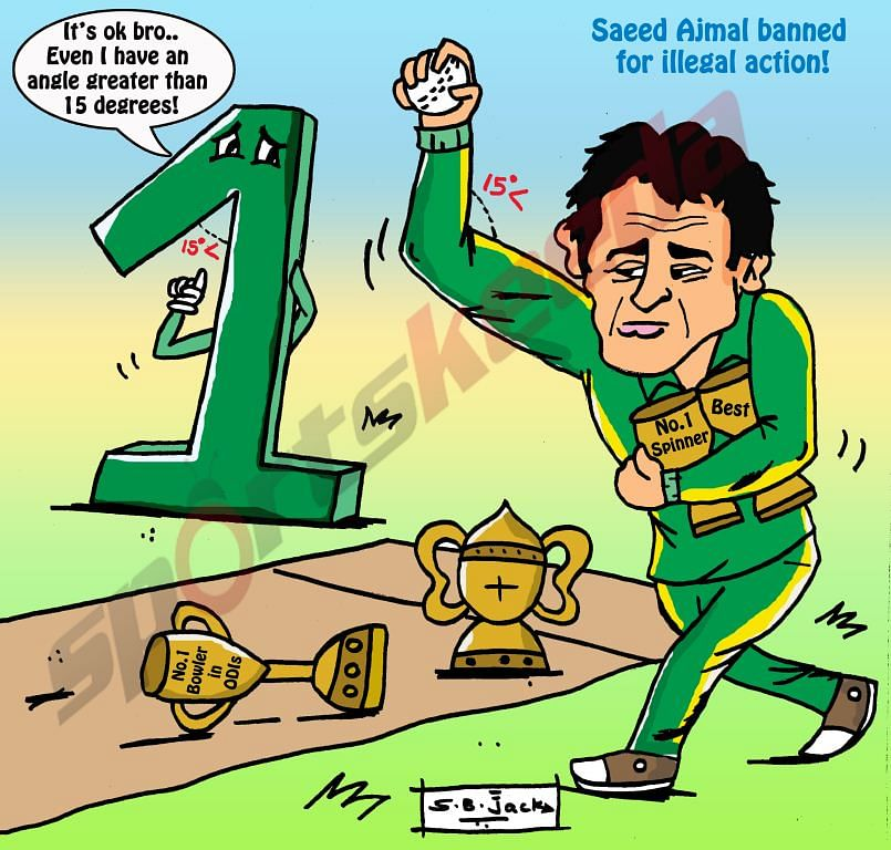 Comic: World number 1 Saeed Ajmal banned for illegal action