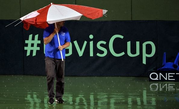 Davis Cup second reverse singles between India and Serbia rained off; to resume on Monday