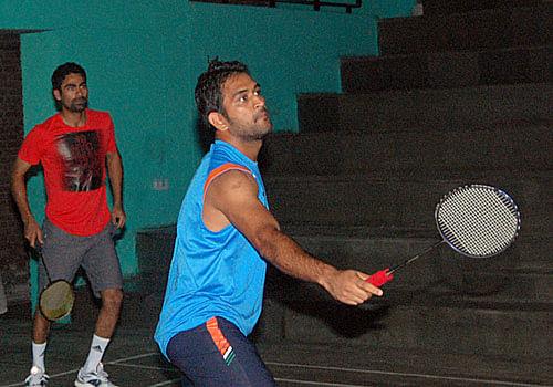 MS Dhoni takes a break from cricket to enjoy badminton in Bangalore