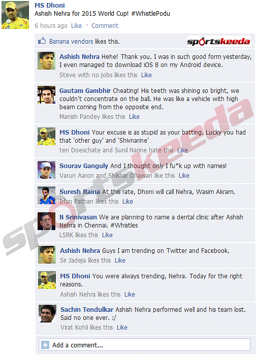 FB Wall: MS Dhoni backs Ashish Nehra for 2015 World Cup