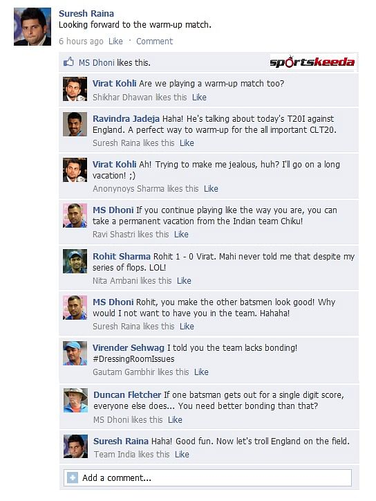 FB Wall: Suresh Raina and MS Dhoni troll teammates before the T20 against England