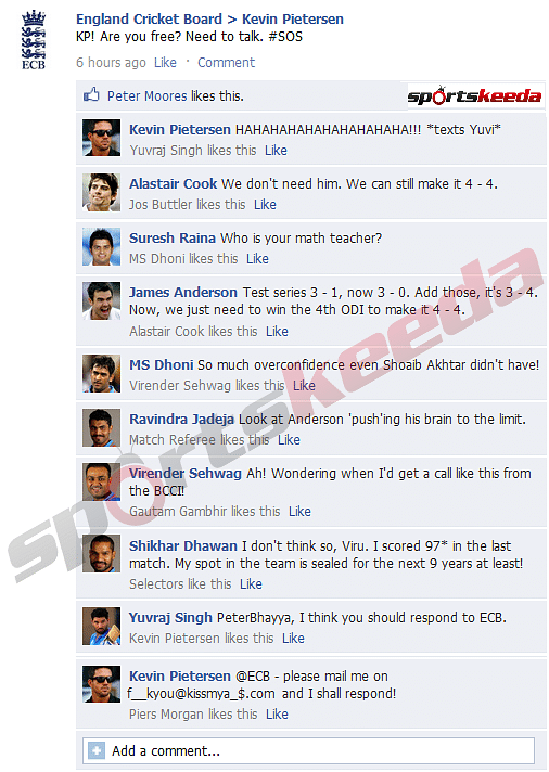 FB Wall: Kevin Pietersen receives SOS call from ECB, Indian cricketers troll England