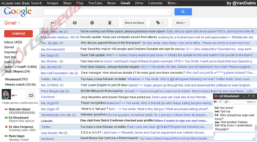 Louis van Gaal's Gmail inbox revealed