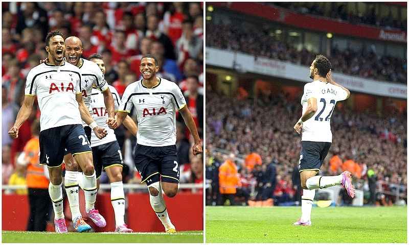 Nacer Chadli's booking for celebrating against Arsenal was a bit too excessive
