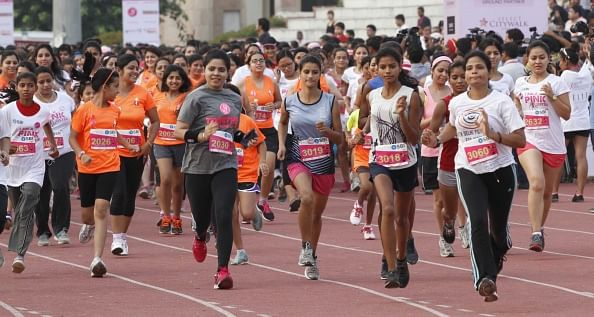 7000 women participate at the 2014 Delhi Pinkathon