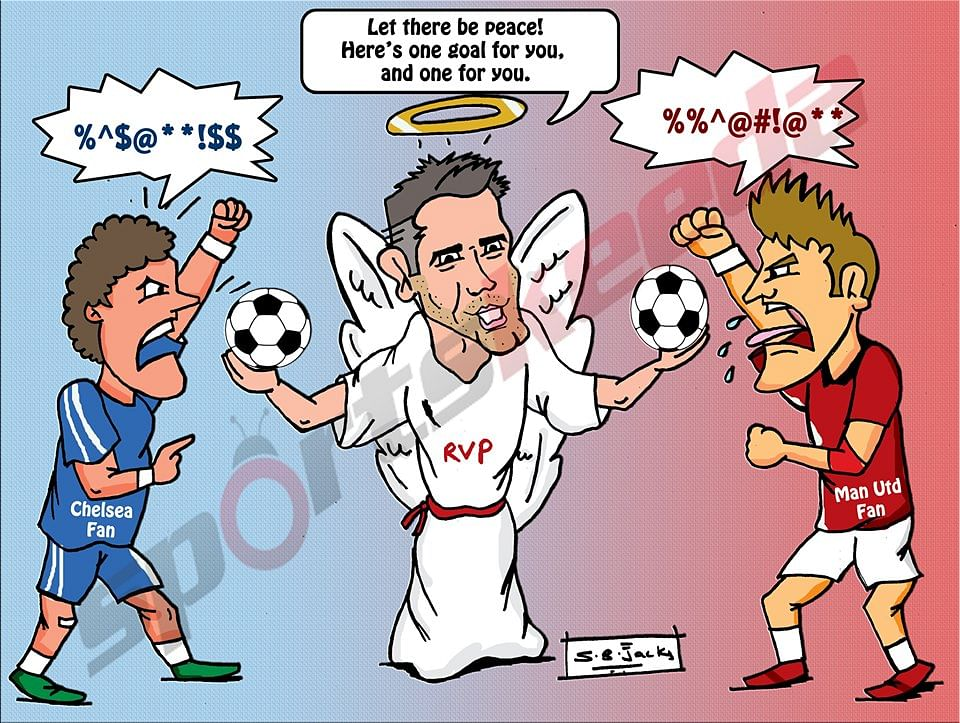 Comic: Robin van Persie - the peacemaker during Manchester United vs Chelsea