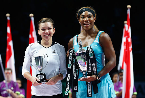 Serena Williams beats Simona Halep to win WTA Finals trophy