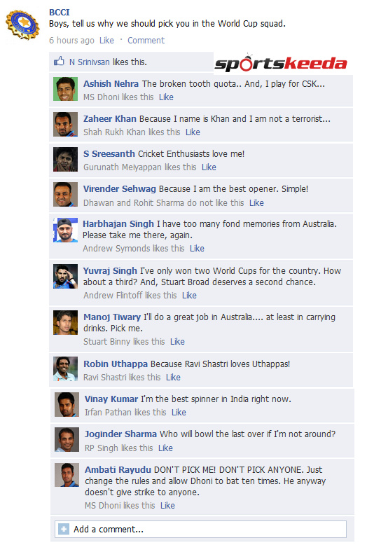 FB Wall: BCCI asks players why they should be picked for World Cup