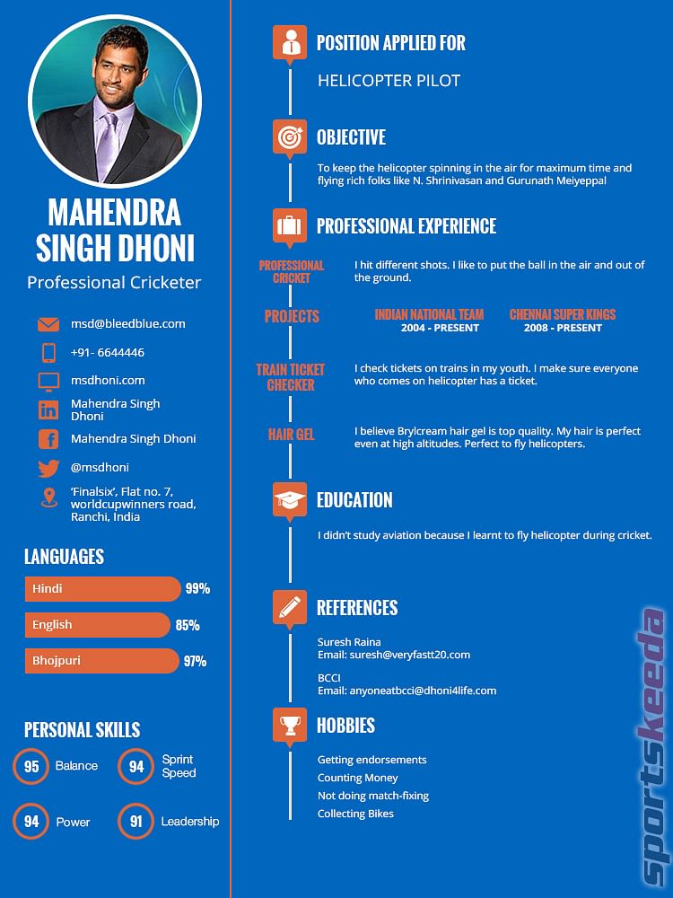 Humour: Will Mahendra Singh Dhoni get a decent job after retirement with this CV?
