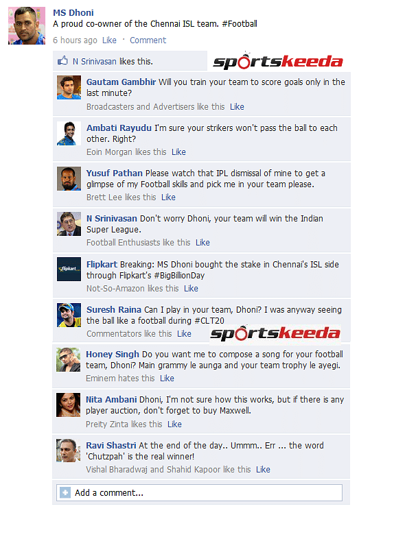 Big Billion Day FB Wall: MS Dhoni trolled after becoming co-owner of Chennai ISL team