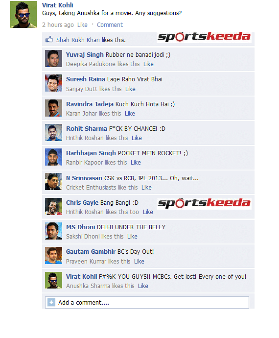 FB Wall: Virat Kohli wants to take Anushka Sharma on a date, trolled by teammates