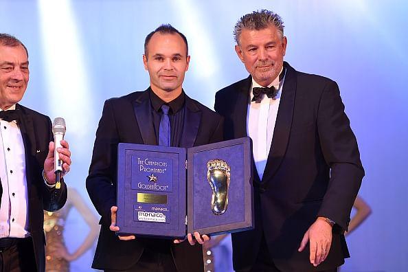Andres Iniesta beats Cristiano Ronaldo and Wayne Rooney to win Golden Foot award