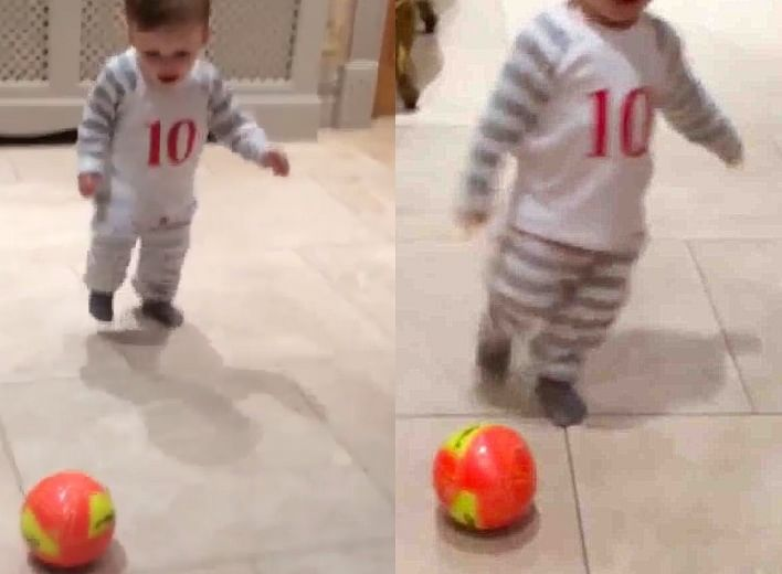 Video: Wayne Rooney's younger son Klay is a decent football player!