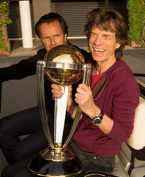 Rolling Stones get hands on ICC World Cup trophy
