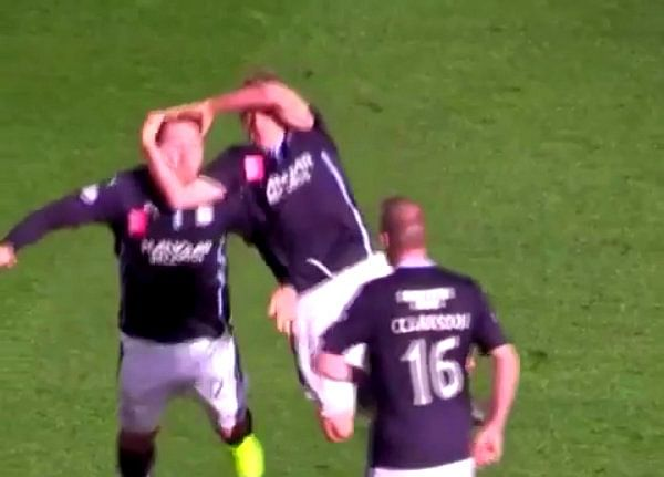 Video: Scottish player celebrates goal with WWE star Randy Orton's 'RKO' move
