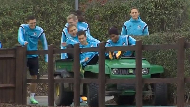 Video: Hilarious clip of Didier Drogba crashing a mini-car with Hazard and Ivanovic on it