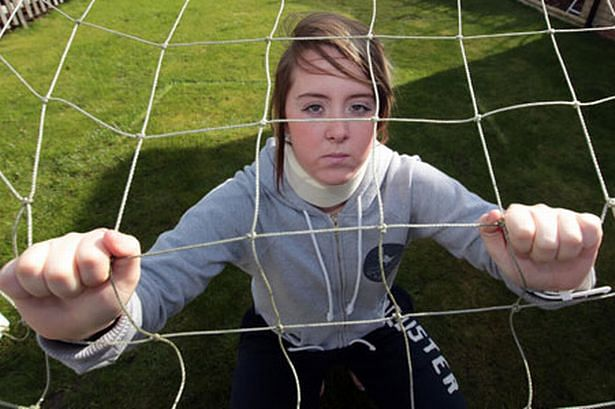 Newcastle United's women goalkeeper Laura Wareham kept on playing inspite of a broken neck