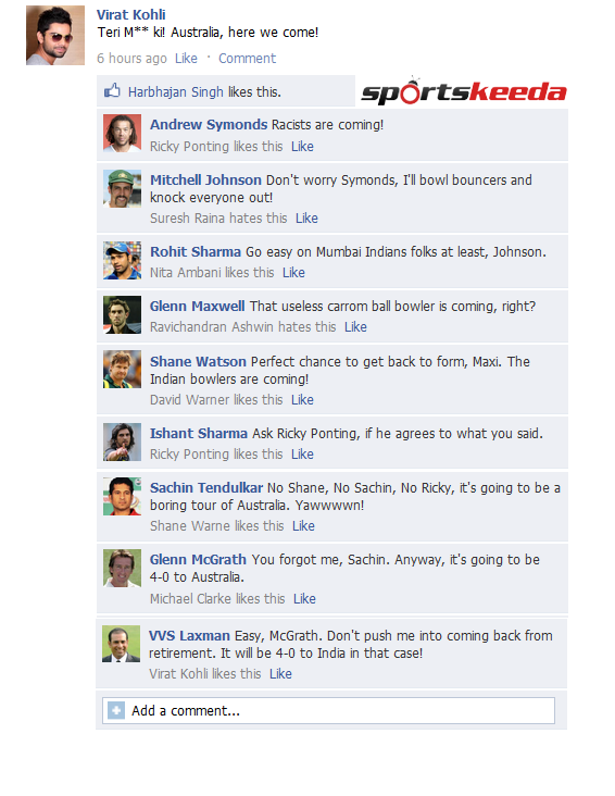 Fake FB Wall: Virat Kohli and co. troll Australia before the tour down under