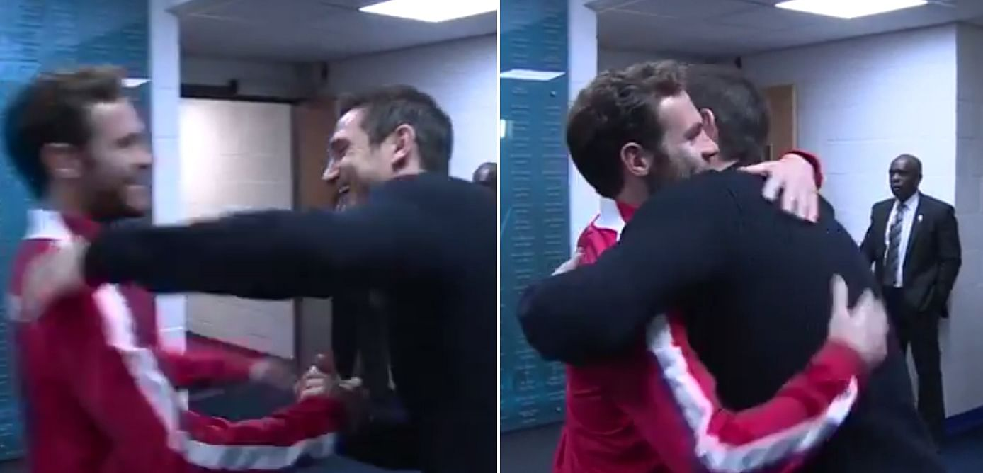 Video: Frank Lampard hugs Juan Mata in the player tunnel during the Manchester derby