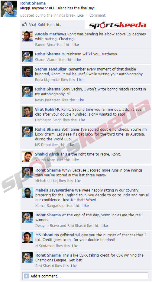FB Wall: Rohit Sharma trolls everyone on Facebook after record-breaking 264